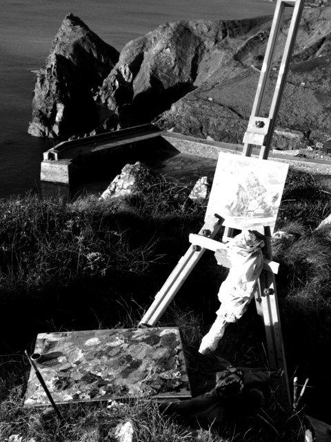 plein air painting at Mullion Cove