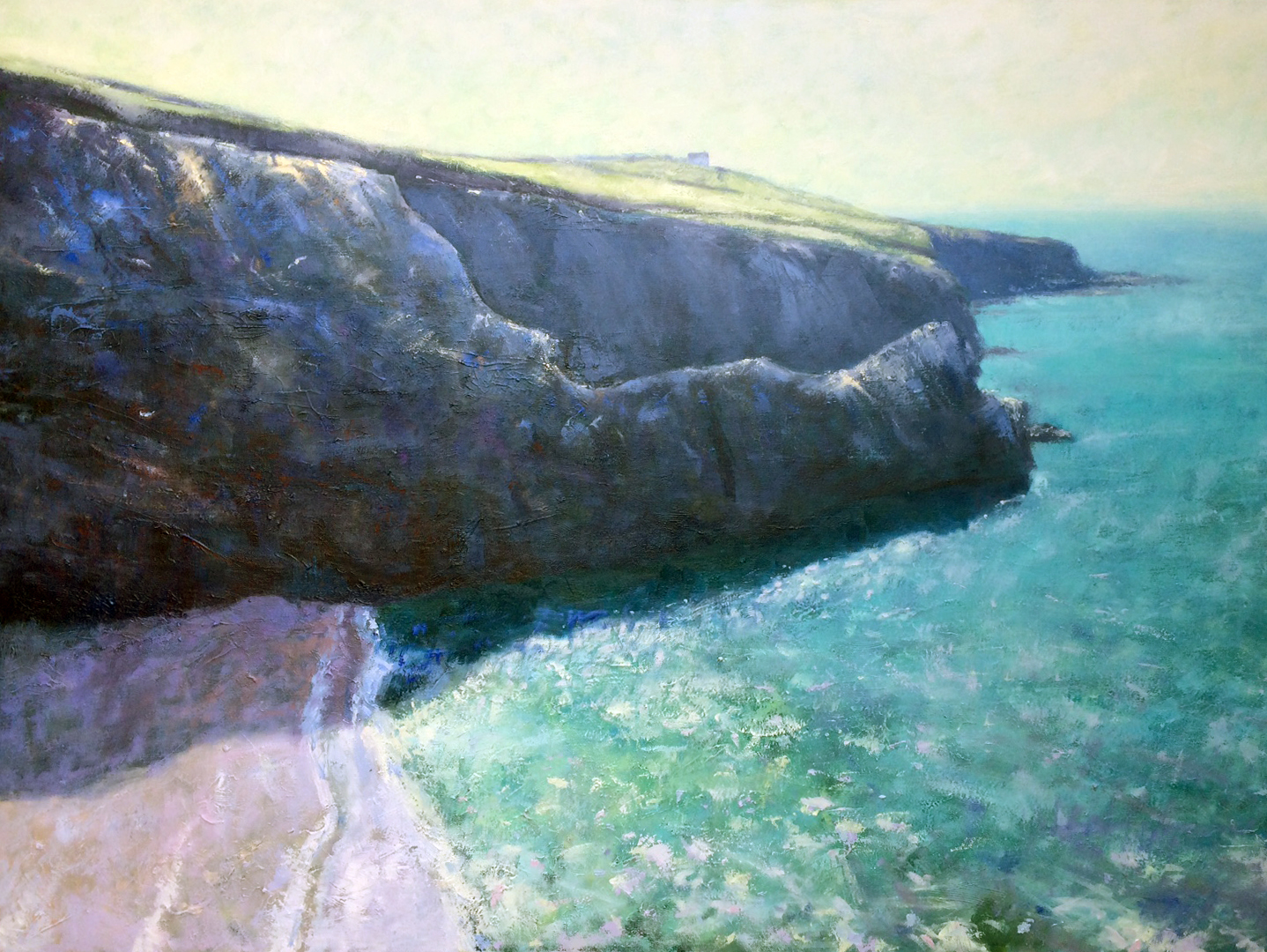 Exhibition in Porthleven gallery - Painting of the cliffs at Beacon Crag