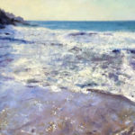 'Rinsey surf' oil on canvas - Cornwall art