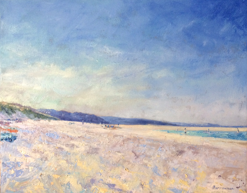 Oil on canvas A Barrowman 'Beach day'