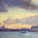 'Harbour at dusk' oil on canvas by artist Andrew Barrowman - Porthleven
