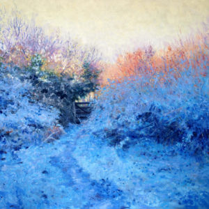 Frosty hedgerow oil on board