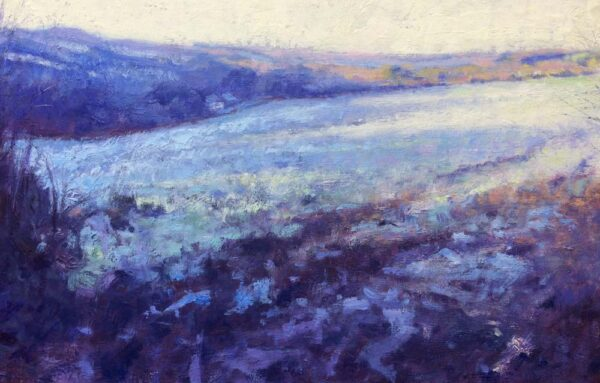 Frosty farmland painting
