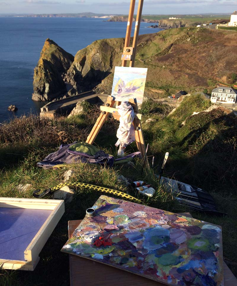 Plein air painting Mullion cliff tops