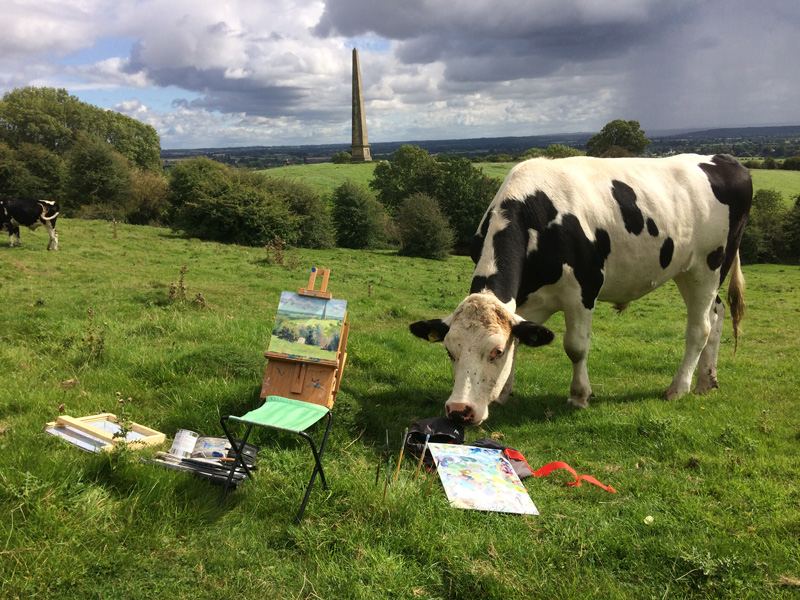 Plein air at Welcombe Hills, Stratford Upon Avon with some uninvited guests