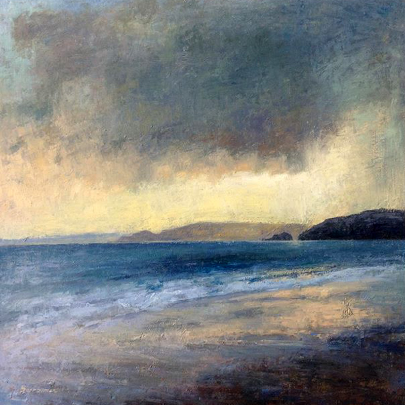 'Evening at Praa Sands' oil on board