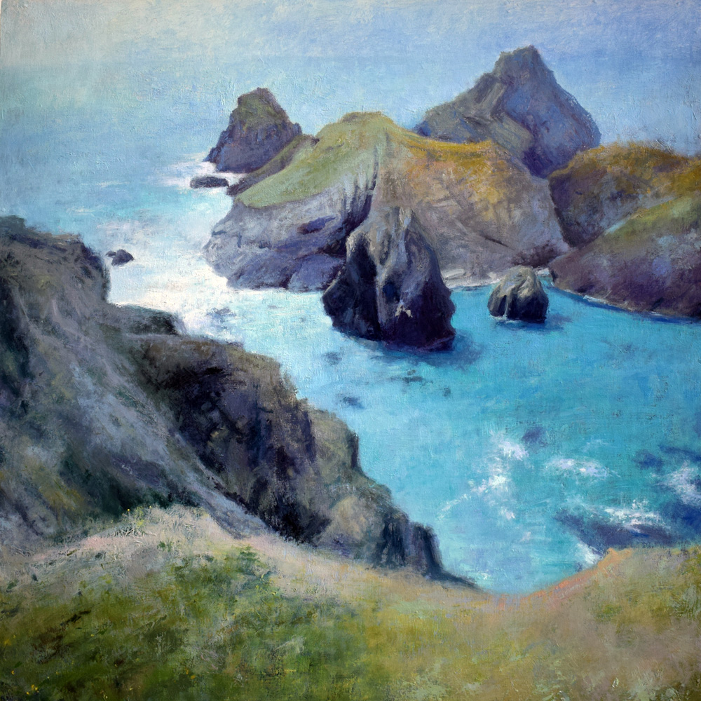 'Hazy Summer day at Kynance Cove' oil on board by landscape painter Andrew Barrowman