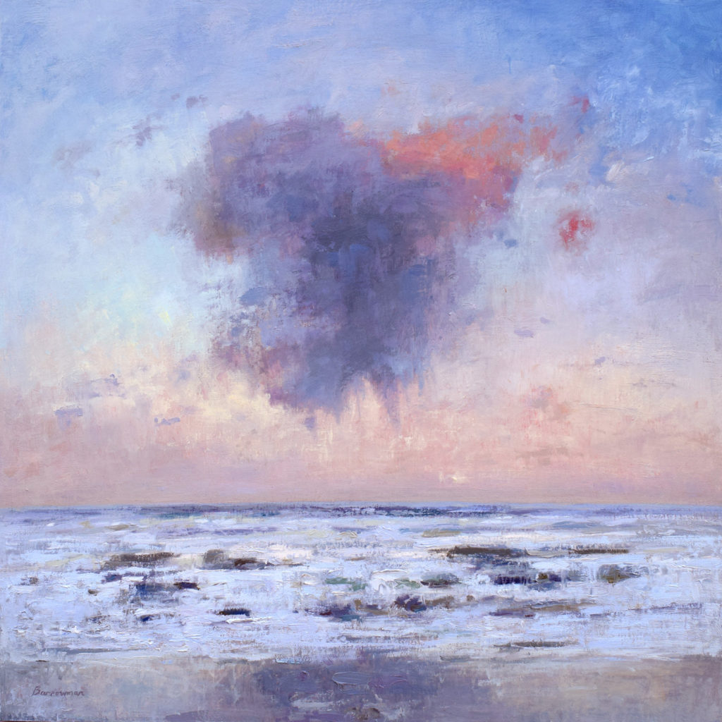 Evening clouds over the Atlantic - oil on ply panel by Andrew Barrowman