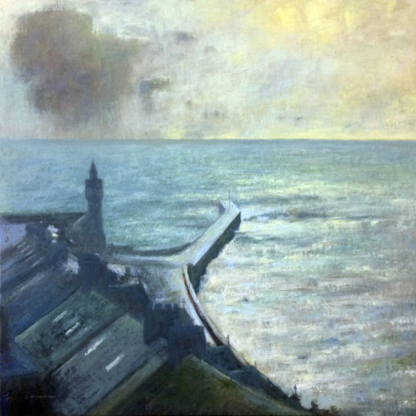 'It's raining at sea, Porthleven'' oil on ply panel available from The Customs House Gallery